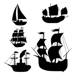 set silhouettes classical sailing boats vector image