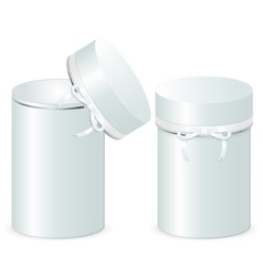Set two cylindrical gift boxes with a bow vector