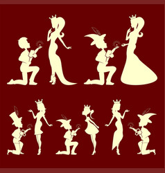 Silhouettes of the prince and princess set vector