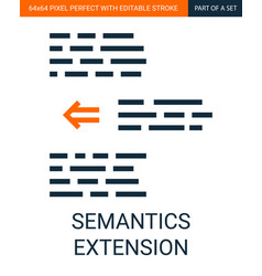 simple outline text semantics extension vector image