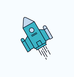 Space craft shuttle space rocket launch flat icon vector