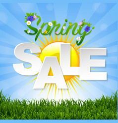 spring sale banner with sun vector image