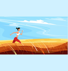 strong athletic woman sprinter running outdoors vector image