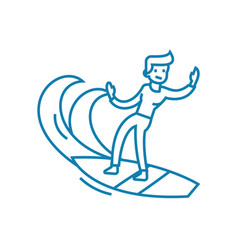 surfing waves linear icon concept surfing waves vector image