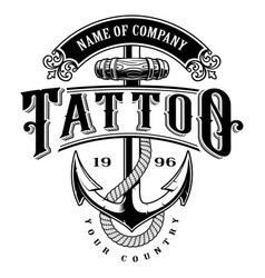 Tattoo lettering with anchor for white background vector