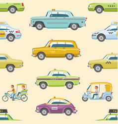 Taxi taxicab transport and yellow car vector