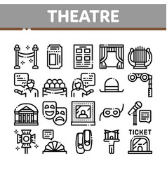 Theatre equipment collection icons set vector
