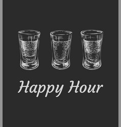 Three kinds of alcoholic drinks in shot glasses vector