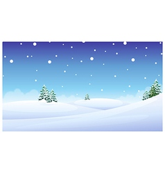 trees over snow landscape vector image