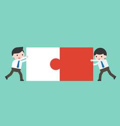 two businessman connect puzzle pieces flat design vector image