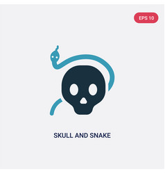 two color skull and snake icon from shapes vector image