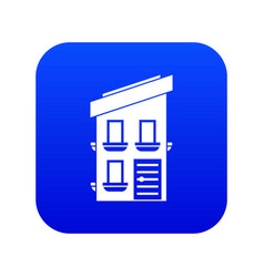 two-storey house icon digital blue vector image