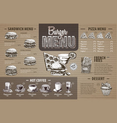 Vintage burger menu design on cardboard vector