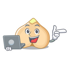 with laptop chickpeas character cartoon style vector image