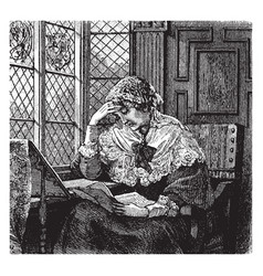 woman reading window vintage engraving vector image