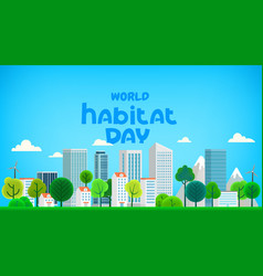 world habitat day greeting card cartoon style 3d vector image