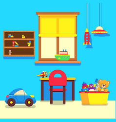 baby room interior with window work place and vector image vector image