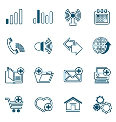 Flat line web icons set vector image vector image