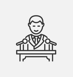 president - line design single isolated icon vector image