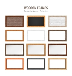 Wooden Rectangle Banners Set vector image vector image