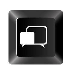 black button square bubble icon vector image