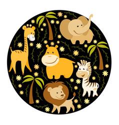 cute cartoon african animals vector image vector image