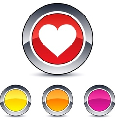 heart round button vector image