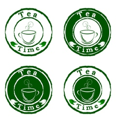 tea time stamps set isolated on white background vector image vector image