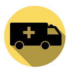 ambulance sign flat black vector image