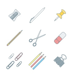 colored outline various stationery icons set vector image vector image