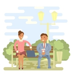 Couple on a park bench vector