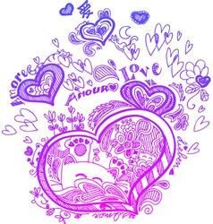 Heart valentine doodles vector image