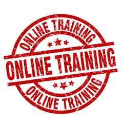Online training round red grunge stamp vector