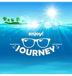 Summer journey poster Ocean island sunglasses vector image