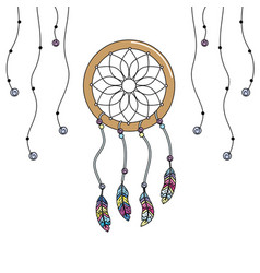 beauty dream catcher with feathers design vector image vector image