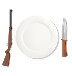 Dinner placemats for a hunter vector image