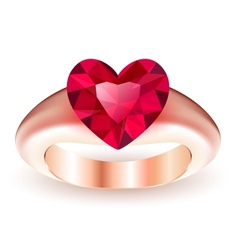 Ring with ruby heart shaped vector image