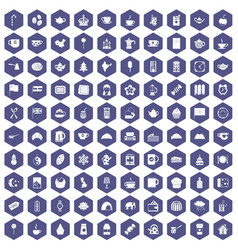 100 tea cup icons hexagon purple vector