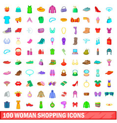 100 woman shopping icons set cartoon style vector