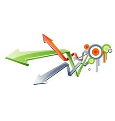 3D glass arrows vector image