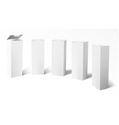 3d set of realistic vertical tall white cardboard vector image