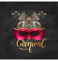 3d venetian carnival mask silhouette vector