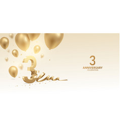 3rd anniversary celebration background vector image