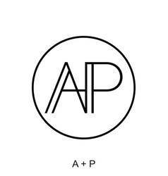 A and p letter concept vector