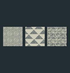 africa tribal art black white seamless pattern set vector image