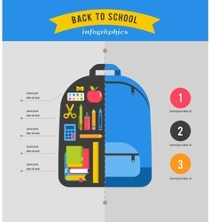 Back to school infographics with student backpack vector image vector image