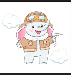 Baelephant in aviator clothes with plane vector