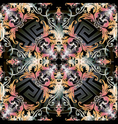 baroque floral 3d seamlss pattern vector image