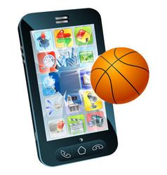 basketball ball cell phone vector image
