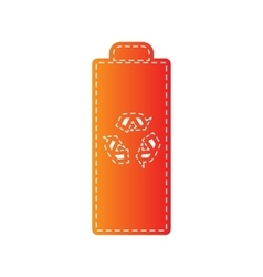 Battery recycle sign Orange applique vector image